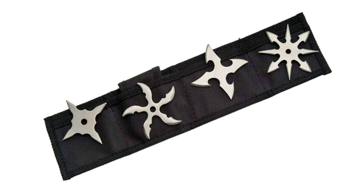 NINJA SILVER THROWING STAR SET