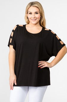 Women's Short Dolman Sleeve Top with Lattice Detail