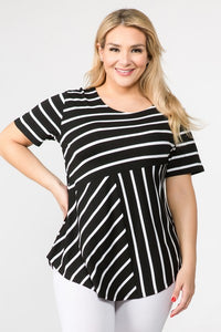 Women's Short Sleeve Striped Tunic Top Black