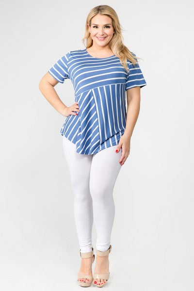 Women's Short Sleeve Striped Tunic Top Blue
