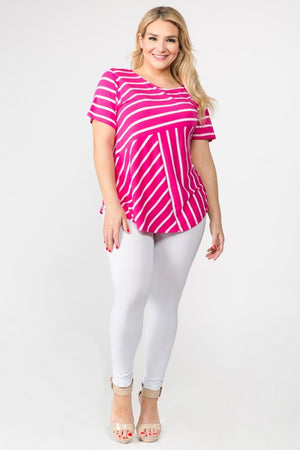Women's Short Sleeve Striped Tunic Top Pink