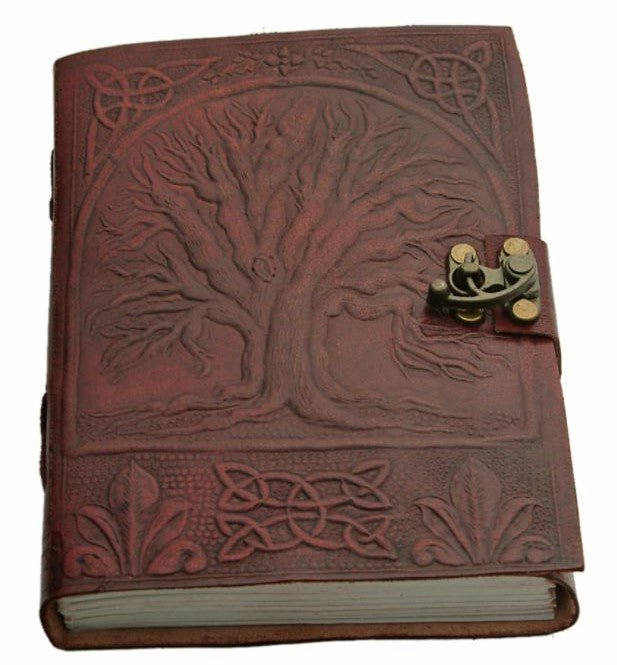 "5x7"" TREE OF LIFE LEATHER JOURNAL W/ LOCK"