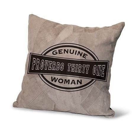 Genuine Suede Leather Proverbs 31 Pillow