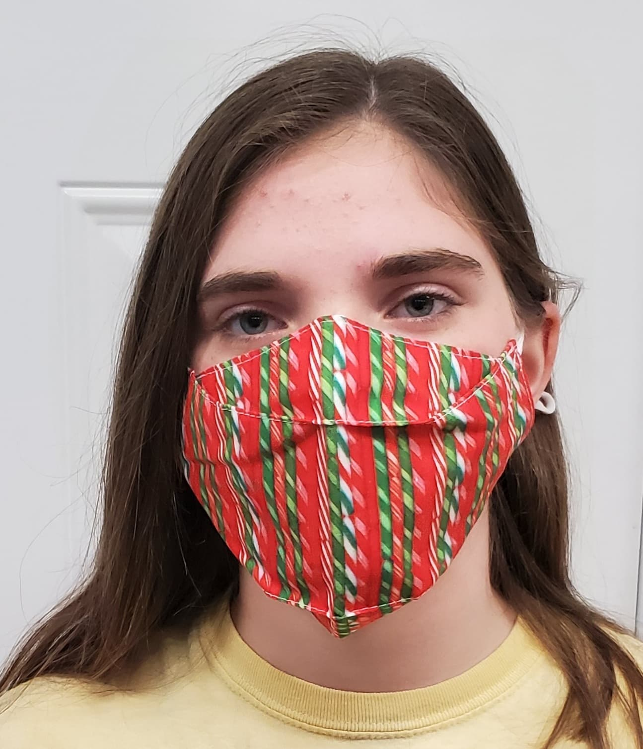 Christmas Candy Cane No Fog Face Mask - Adjustable