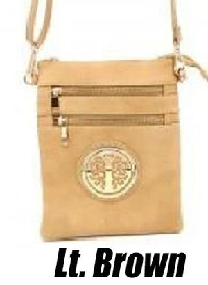 Cross Body Bag Purse With Gold Tree Emblem