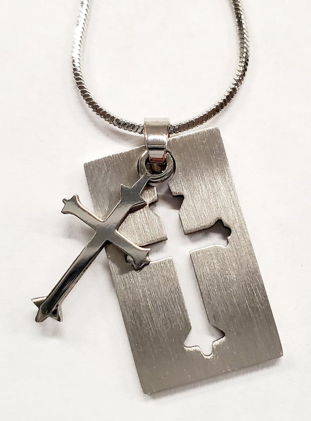 Stainless Steel Cross Inside Another Cross Necklace