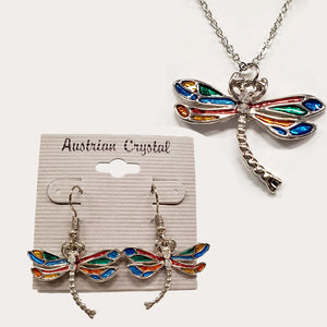 Austrian Crystal Dragonfly Necklace & Earring Set