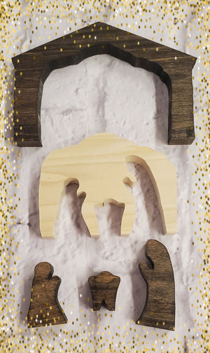 Christmas Wooden Nativity Scene 5 Pieces Handmade