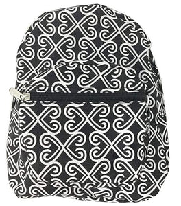 Mini Backpack Purse - Hearts - Black & White