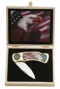 American Flag Bald Eagle Gift Box Knife