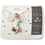 "Baby Monthly Milestone Photo Blanket for Boy or Girl, 30"" x 40"" Ultra Soft Angel Wings by Hooked on Baby"