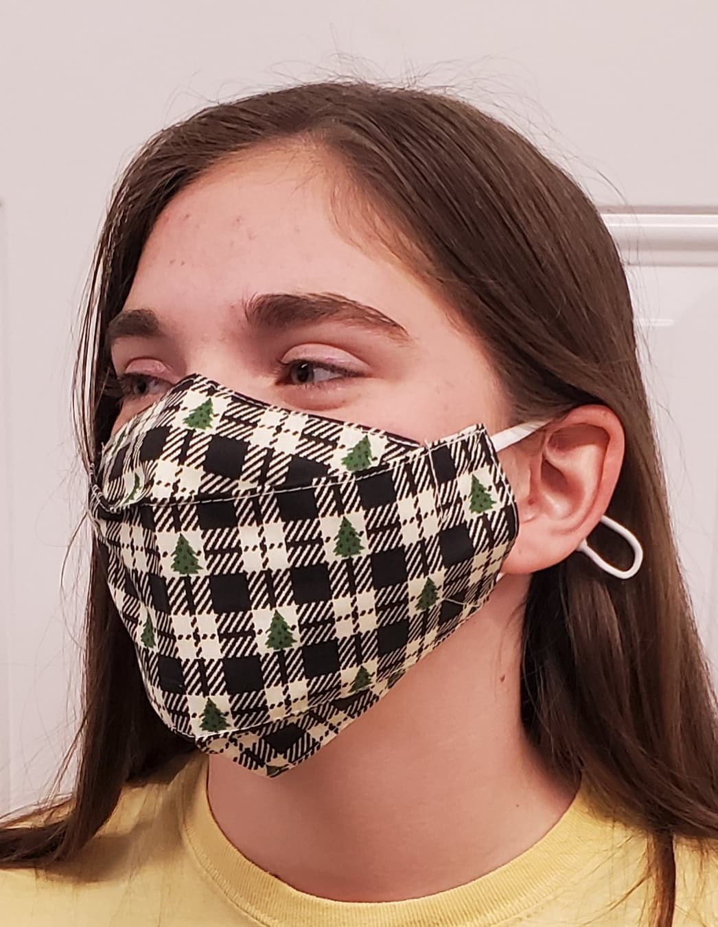 Christmas Plaid Tree No Fog Face Mask - Adjustable
