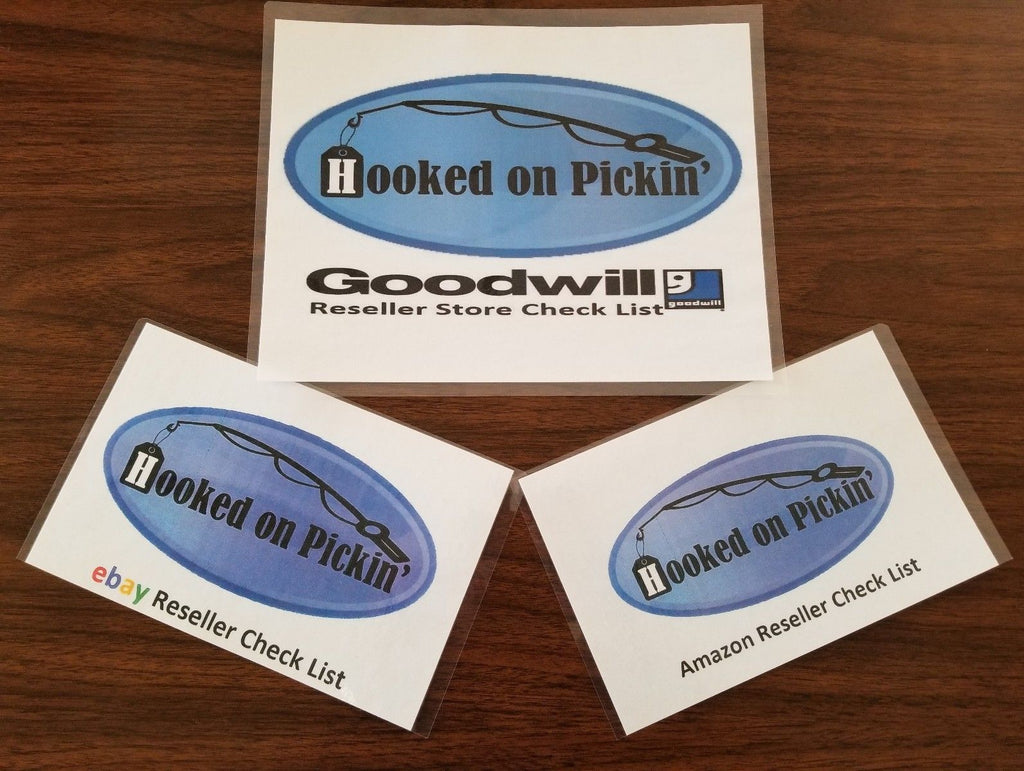 Hooked on Pickin' Reseller Program Amazon, Ebay, Goodwill Checklist Cards