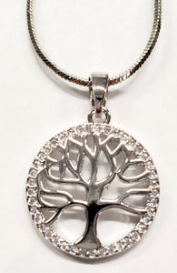 Tree of Life Necklace Framed in Cubic Zirconia