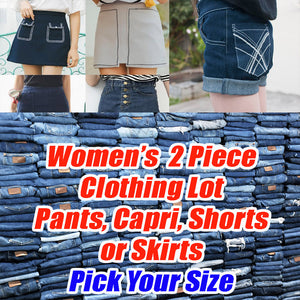 Women's 2 Piece Clothing Lot -Pants, Capris, Shorts, Skirts - Pick your size - All Brand New