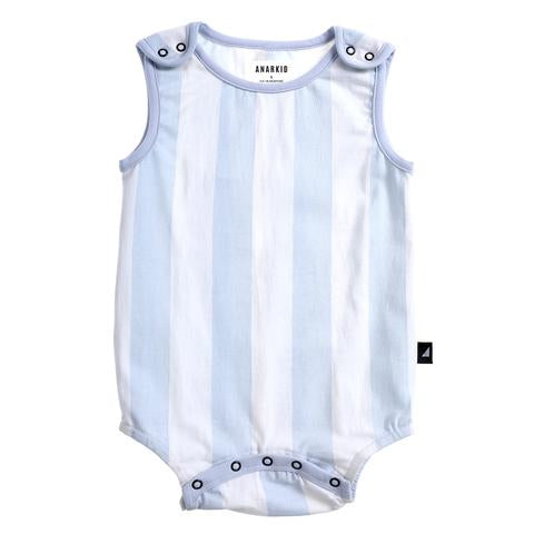 Anarkid light blue and white block stripe baby romper