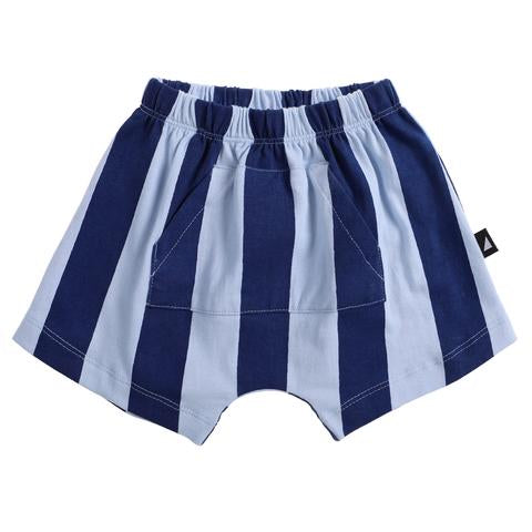 Anarkid light and dark blue stripe shorts with front pocket for boys