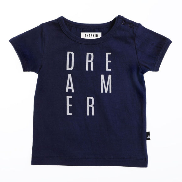 Anarkid navy blue tee with white letters spelling Dreamer on the front for boys