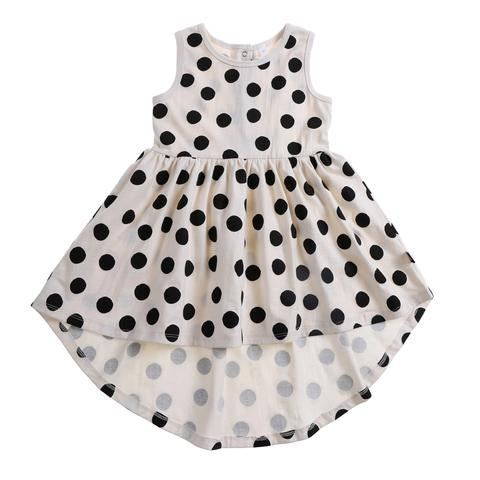 Anarkid white sleeveless dress with large black spots for girls