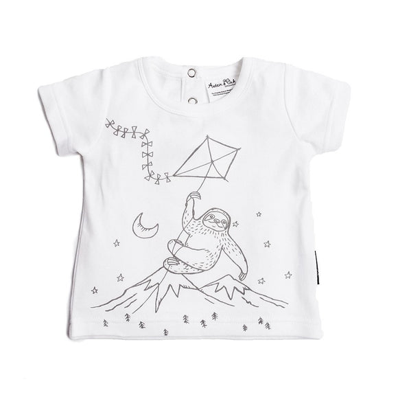 Aster & Oak organic adventure sloth print tee white with black image boys