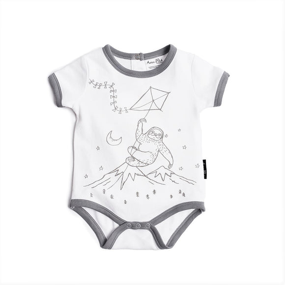 Aster & Oak organic adventure sloth print romper white with grey trim for baby