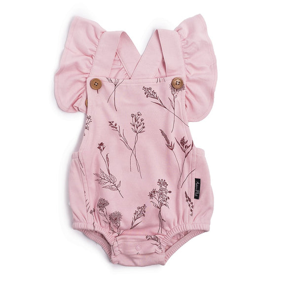 Aster & Oak organic pink playsuit with wildflower print and ruffle cross over back girls