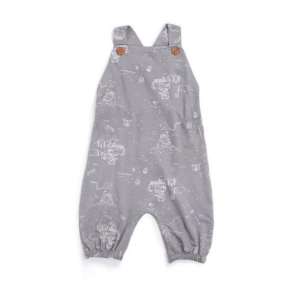 Aster & Oak organic harem jumpsuit adventure sloth print grey