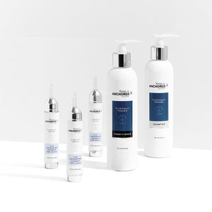 THE ESSENTIALS PLUS KIT FOR MEN<br>Three HairAnchoring Essences <br>Shampoo Plus Conditioner <br>