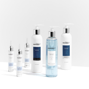 COMPLETE KIT FOR MEN<br>Three HairAnchoring Essences <br>Plus Pre-Cleanser, Shampoo, Conditioner