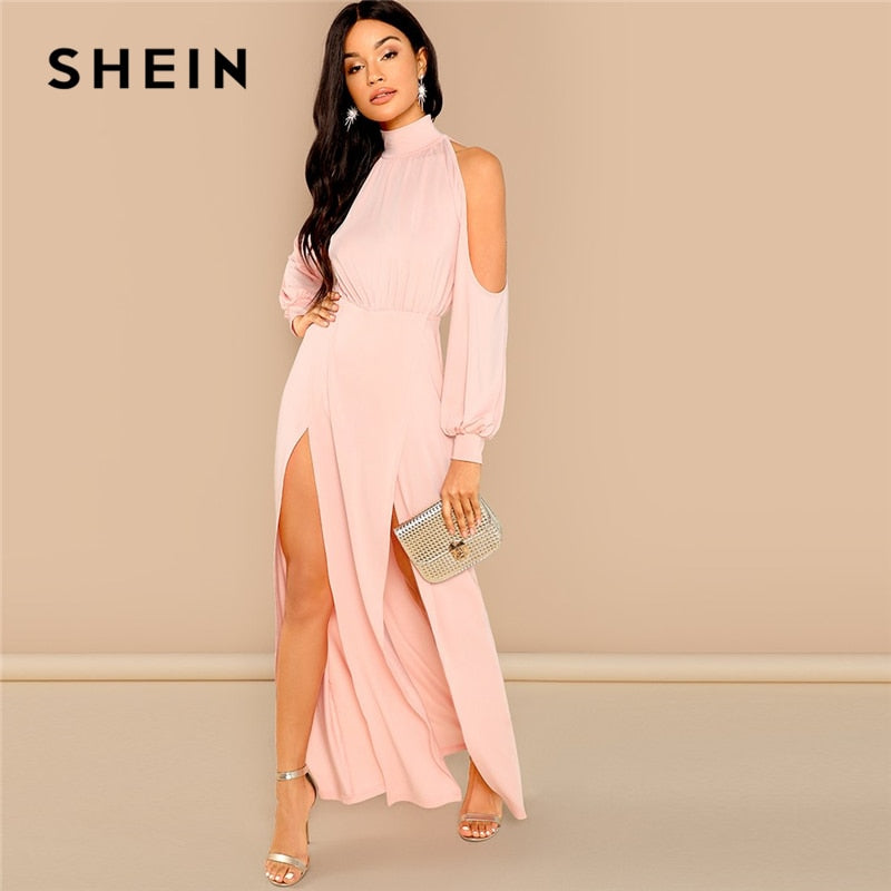 f26038abe4 Money Transactions · SHEIN Pink Party Elegant M-Slit Front Cold Shoulder  Natural Waist Long Sleeve Solid Maxi Dress 2018 Autumn Sexy ...