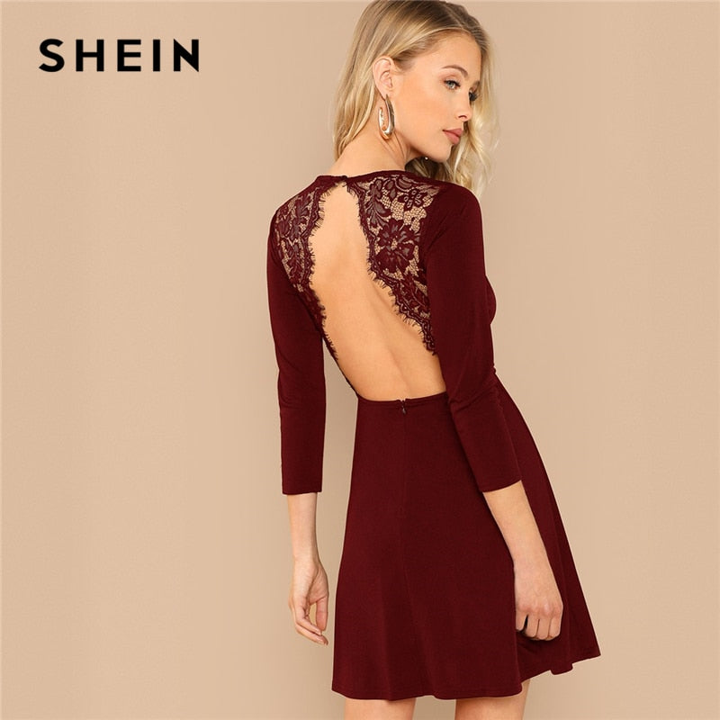 Money Transactions · SHEIN Burgundy Party Solid Backless Lace Contrast  Round Neck Long Sleeve Sexy Dress Autumn Elegant Club ... 55ed507c5cac