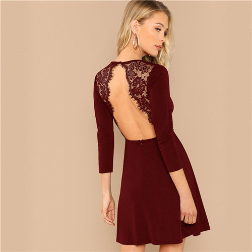 c8142f06c6 SHEIN Burgundy Party Solid Backless Lace Contrast Round Neck Long Sleeve  Sexy Dress Autumn Elegant Club