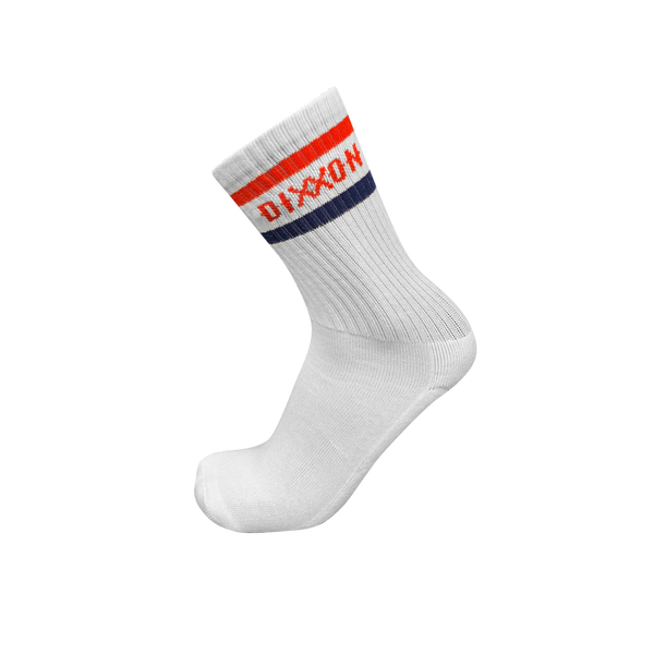 Crew White Classic Stripe Socks- Esso Red/ White/ Navy