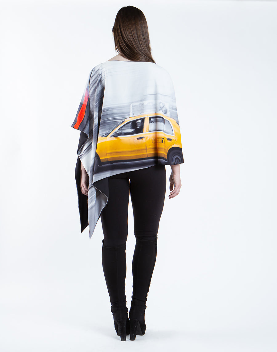 New York City Printed Reversible Poncho
