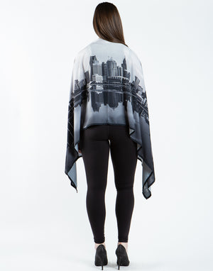 "82"" x 28"" Extra Large Detroit Skyline Printed Shawl"