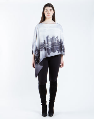 Detroit Skyline Printed Reversible Poncho