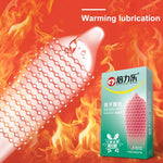 4MB 10PCs Fire Ice Spike Condoms Large Dots Orgasm
