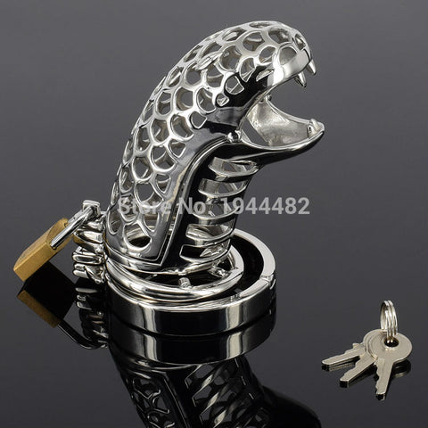 Snake-shaped Chastity Device Steel Chastity Spikes Metal Cock Cage