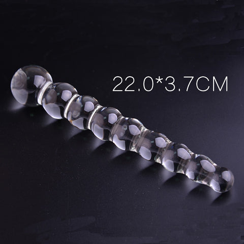 glass dildo with crystal anal bead