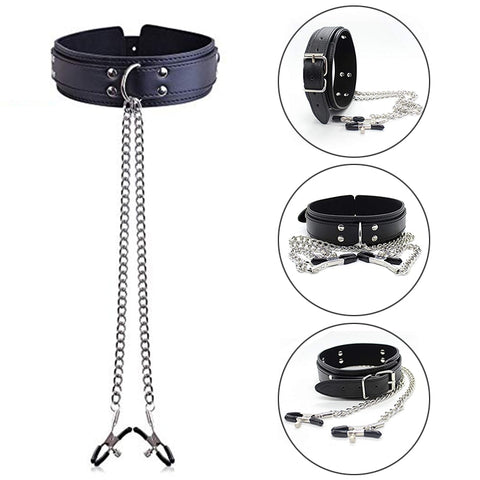 BDSM Bondage Restraint Fetish Collar Chain with Nipple Clamps