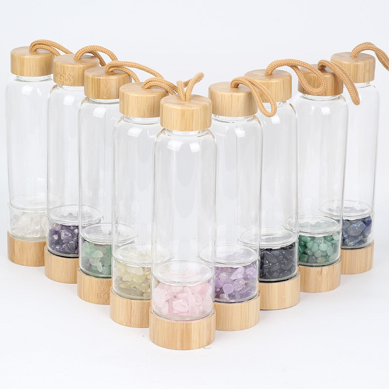 Natural Crystal Quartz Water Bottle Gemstone Glass