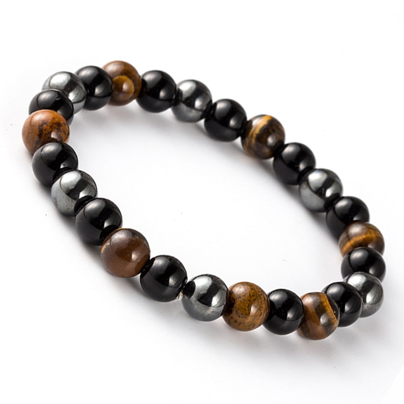 Natural Hematite Stone Tiger Eye Beaded Bracelet for Men