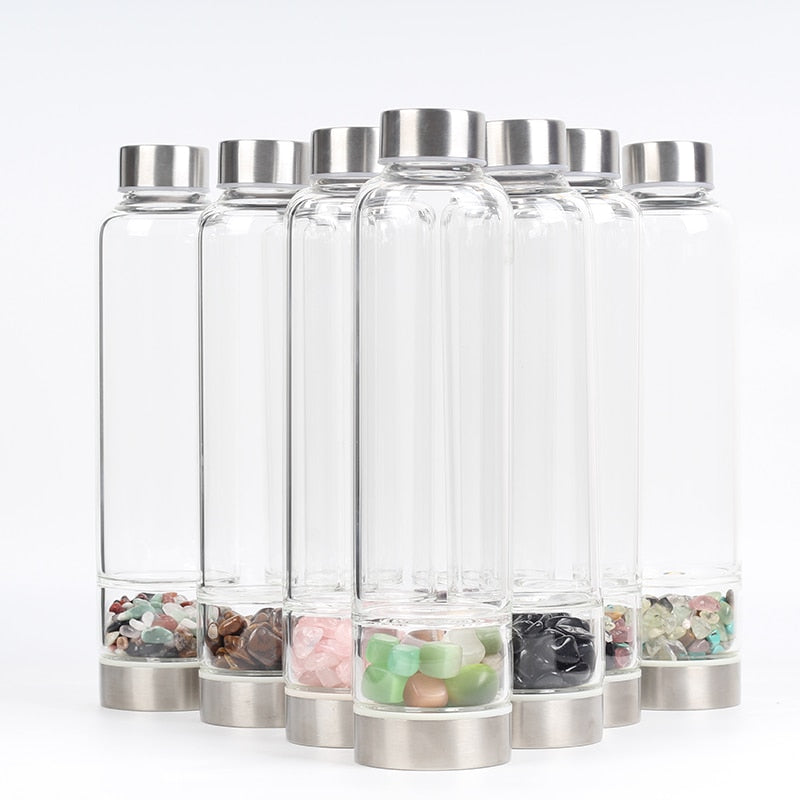 Natural Quartz Crystal And Gemstones Glass Water Bottle
