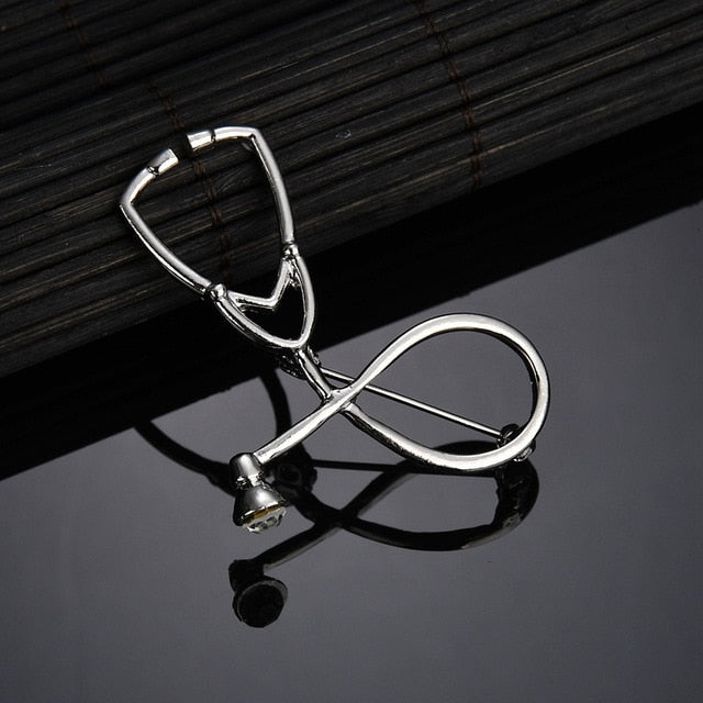 2 Colors Silver Doctors, Nurses Stethoscope Brooch