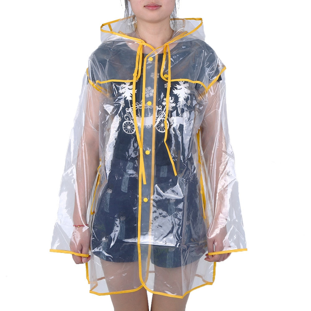 Transparent Waterproof Raincoat Hooded for Women