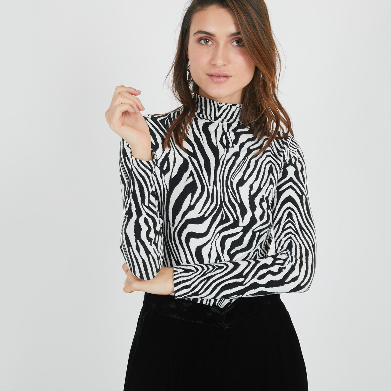 Zebra Turtleneck Top
