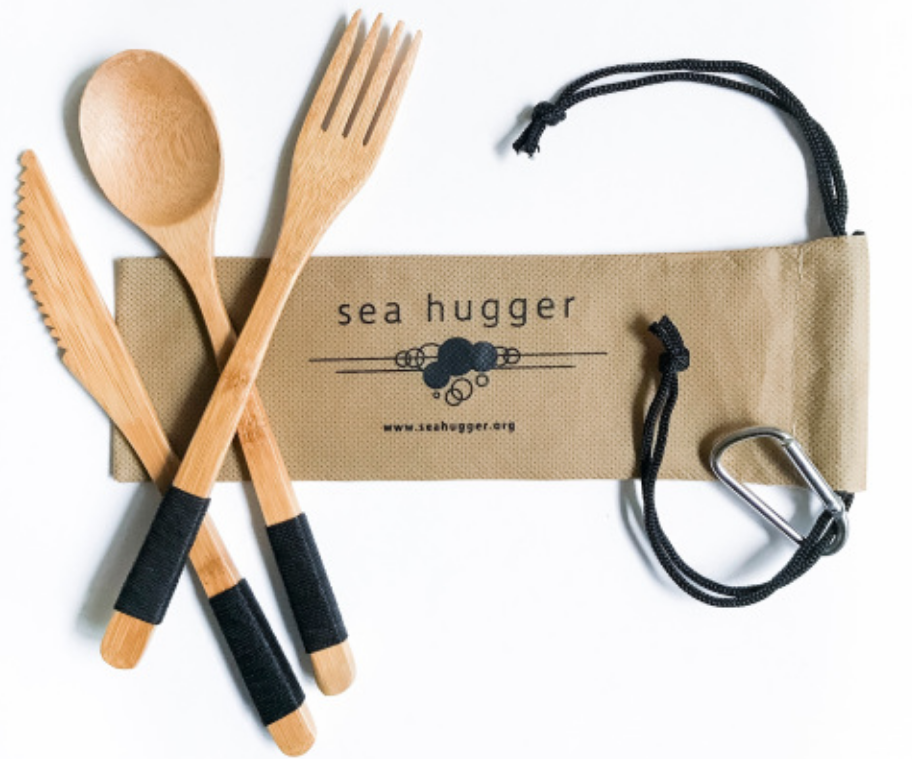 Sea Hugger Bamboo Utensil Kit and Holder