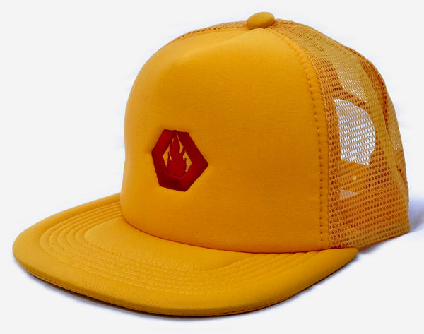 Embroidered Trucker Hat (YELLOW/RED)