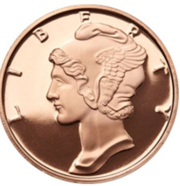 1 oz Copper Round | Mercury Dime