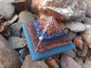Orgone Pyramid with Amazonite, Quartz, Sodalite, Copper, and Blue Glow